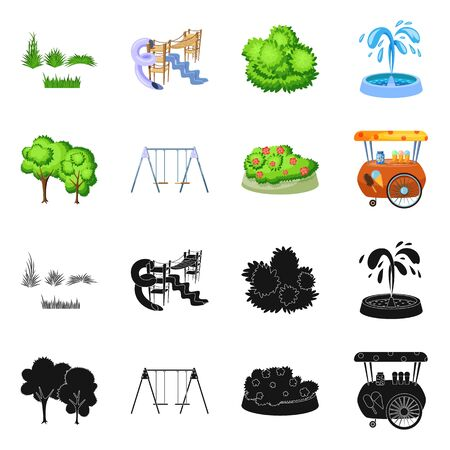 Vector design of urban and street icon. Set of urban and relaxation stock symbol for web.