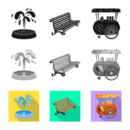 Vector design of urban and street icon. Collection of urban and relaxation vector icon for stock. 写真素材 - 129347452