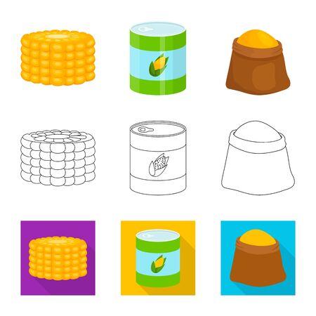 Isolated object of cornfield and vegetable sign. Set of cornfield and vegetarian vector icon for stock. Çizim