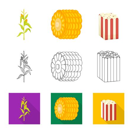 Isolated object of cornfield and vegetable icon. Set of cornfield and vegetarian stock symbol for web. Çizim
