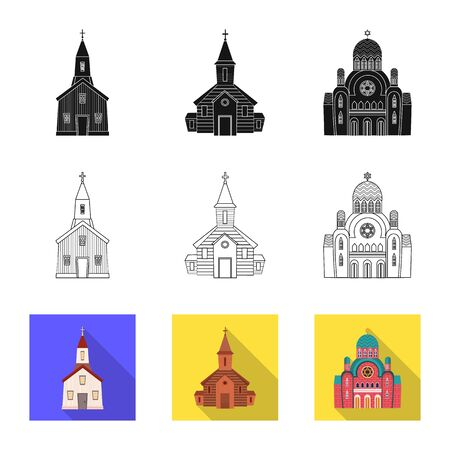 Isolated object of cult and temple . Set of cult and parish stock symbol for web.