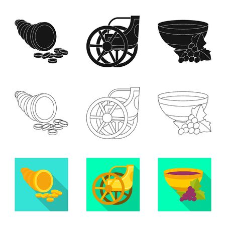Vector illustration of deity and antique symbol. Collection of deity and myths vector icon for stock.