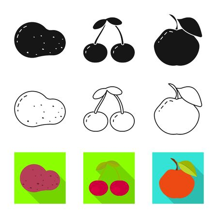 Vector illustration of fresh and red icon. Set of fresh and organic stock symbol for web.
