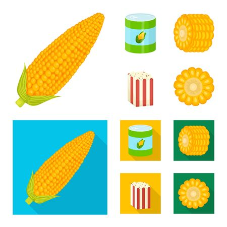 Vector illustration of cornfield and vegetable sign. Set of cornfield and vegetarian vector icon for stock.