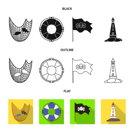 Vector illustration of travel and attributes  . Set of travel and seafaring vector icon for stock. Vettoriali