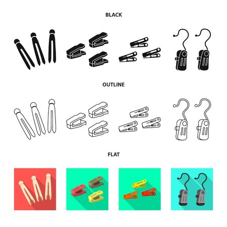 Vector illustration of retro and pins icon. Collection of retro and equipment vector icon for stock.