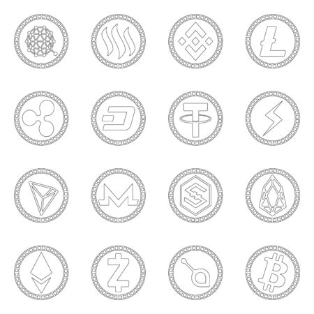 Vector design of crypto and internet  . Collection of crypto and finance stock vector illustration. 일러스트