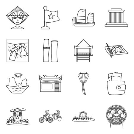 Vector illustration of vietnam and traditional icon. Collection of vietnam and culture stock symbol for web. Ilustração
