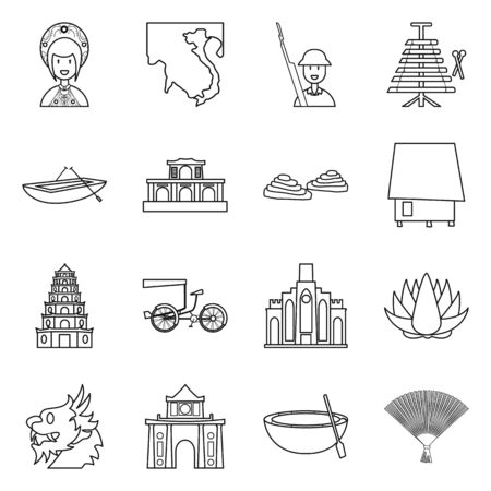 Vector design of travel and country icon. Set of travel and asia vector icon for stock.