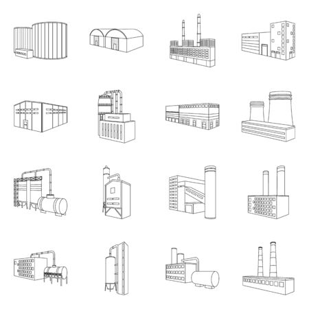 Vector illustration of architecture and industrial icon. Collection of architecture and building vector icon for stock.