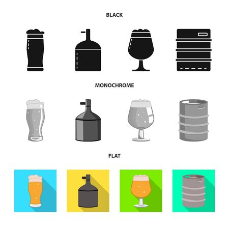 Vector illustration of brewery and brewing symbol. Collection of brewery and ingredient vector icon for stock.