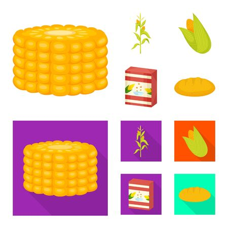 Isolated object of cornfield and vegetable symbol. Set of cornfield and vegetarian stock symbol for web. Çizim
