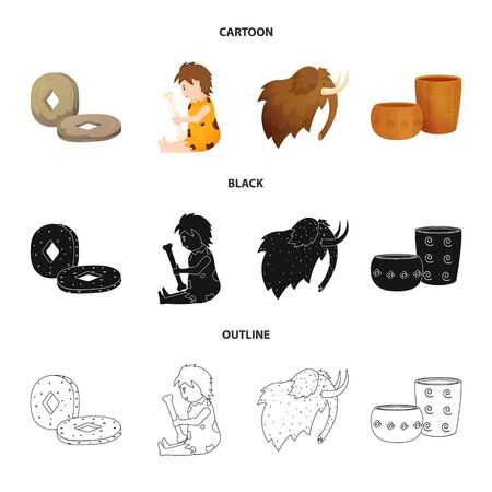 Isolated object of evolution and neolithic sign. Set of evolution and primeval vector icon for stock.