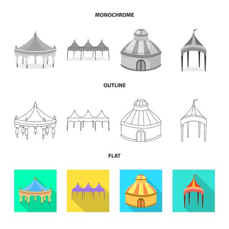 Isolated object of roof and folding icon. Collection of roof and architecture stock vector illustration.