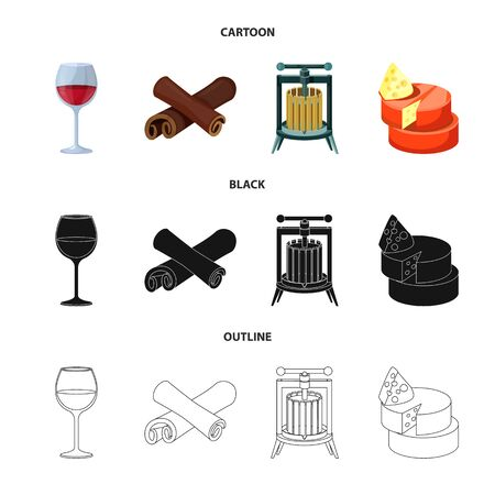 Vector illustration of farm and vineyard . Set of farm and product stock symbol for web.