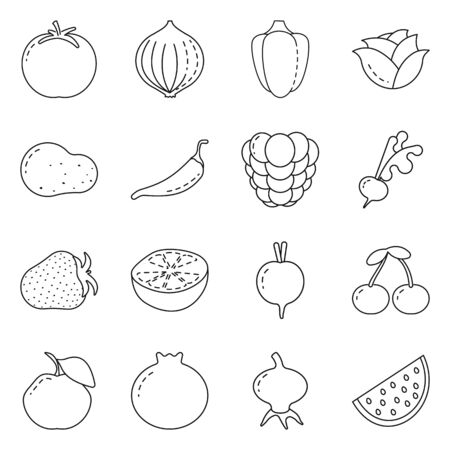 Vector design of healthy and ripe icon. Set of healthy and harvest vector icon for stock.