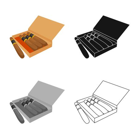 Vector design of cigar and box  . Collection of cigar and luxury stock vector illustration. Иллюстрация