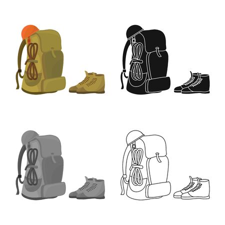 Vector design of backpack and boot  . Set of backpack and trekking vector icon for stock. Фото со стока - 129348145