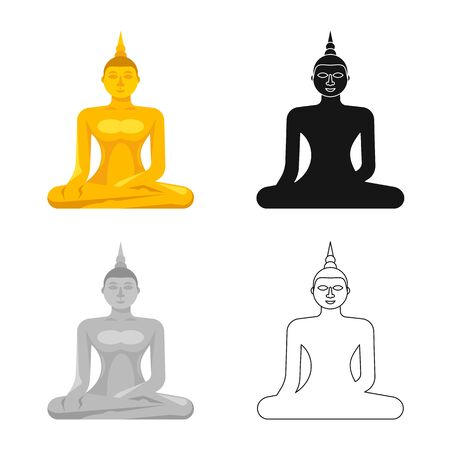 Isolated object of buddha and gold sign. Collection of buddha and buddhism stock symbol for web.