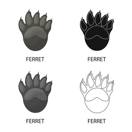 Vector illustration of ferret and paw  . Collection of ferret and claws stock vector illustration.