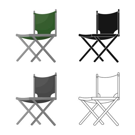 Vector illustration of chair and folding  . Collection of chair and camp stock vector illustration.
