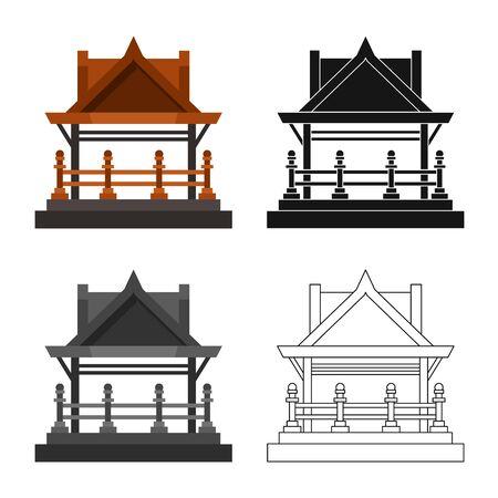 Vector illustration of gazebo and nature. Collection of gazebo and architecture stock vector illustration.