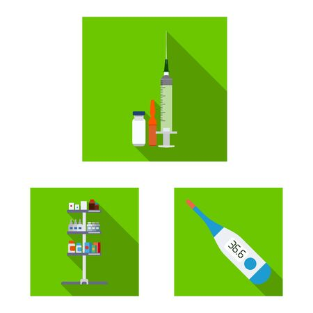 Vector illustration of pharmacy and hospital icon. Set of pharmacy and business vector icon for stock.