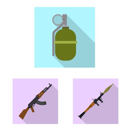 Isolated object of weapon and gun symbol. Set of weapon and army vector icon for stock.