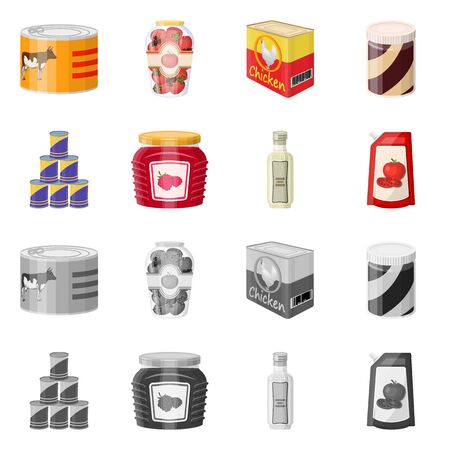Vector design of can and food icon. Collection of can and package stock vector illustration. Ilustração