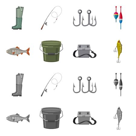 Vector design of fish and fishing icon. Set of fish and equipment vector icon for stock.