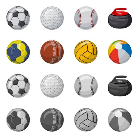 Vector design of sport and ball. Set of sport and athletic stock vector illustration.