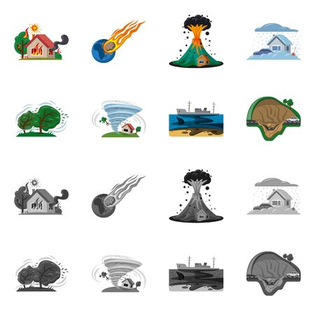 Isolated object of natural and disaster. Collection of natural and risk vector icon for stock.
