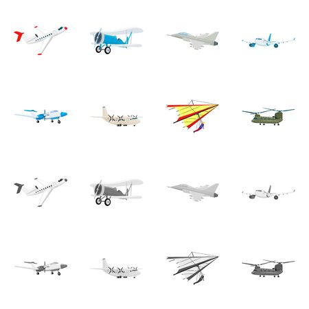 Isolated object of plane and transport. Collection of plane and sky stock vector illustration.
