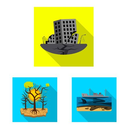 Isolated object of natural and disaster sign. Collection of natural and risk vector icon for stock. Ilustração
