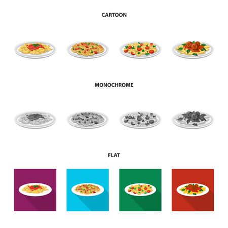 Isolated object of pasta and carbohydrate icon. Collection of pasta and macaroni vector icon for stock.