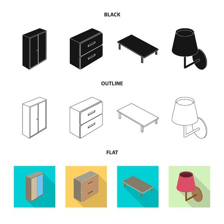 Vector design of bedroom and room  . Set of bedroom and furniture vector icon for stock.