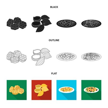Isolated object of pasta and carbohydrate  . Collection of pasta and macaroni stock vector illustration.
