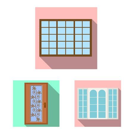 Vector illustration of door and front icon. Set of door and wooden vector icon for stock.