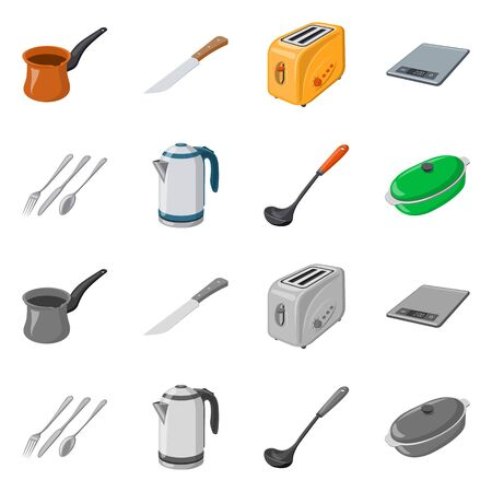 Vector design of kitchen and cook. Set of kitchen and appliance stock vector illustration.