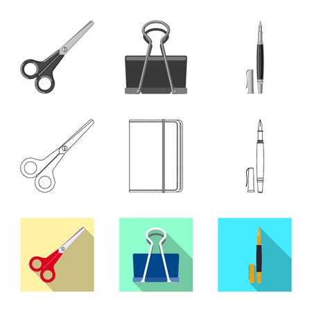 Vector illustration of office and supply icon. Set of office and school stock symbol for web.