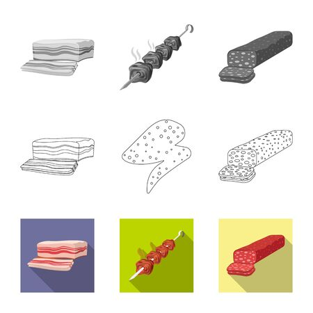 Vector illustration of meat and ham symbol. Set of meat and cooking vector icon for stock.