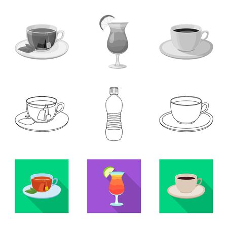 Vector design of drink and bar symbol. Set of drink and party vector icon for stock.  イラスト・ベクター素材