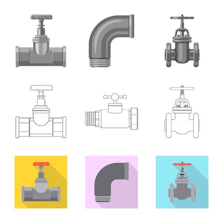 Vector design of pipe and tube symbol. Collection of pipe and pipeline vector icon for stock.