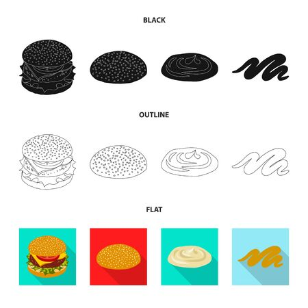 Vector illustration of burger and sandwich symbol. Set of burger and slice vector icon for stock.
