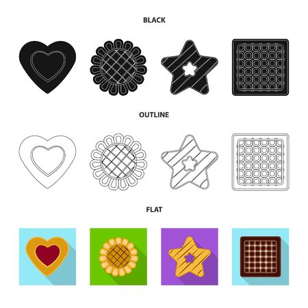 Vector illustration of biscuit and bake . Collection of biscuit and chocolate stock symbol for web.