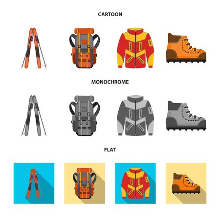 Vector design of mountaineering and peak sign. Collection of mountaineering and camp stock symbol for web. Çizim