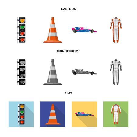 Isolated object of car and rally. Collection of car and race stock symbol for web.