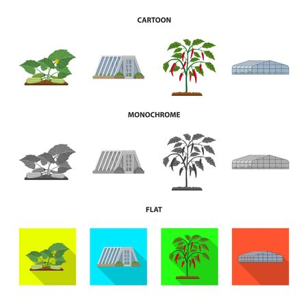 Vector illustration of greenhouse and plant . Collection of greenhouse and garden stock vector illustration. Vetores