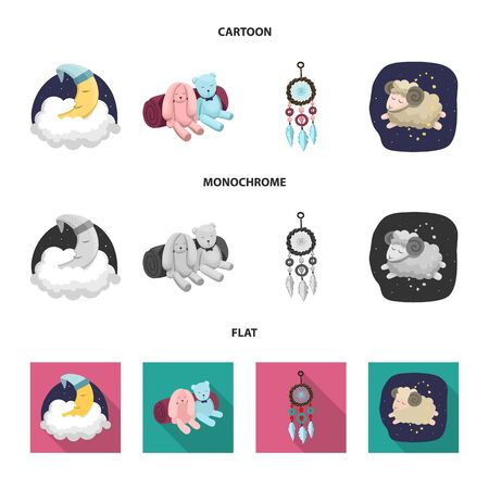 Vector illustration of dreams and night symbol. Collection of dreams and bedroom vector icon for stock.