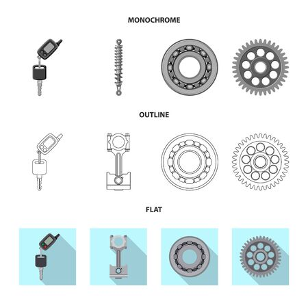 Vector illustration of auto and part icon. Set of auto and car stock vector illustration. Иллюстрация